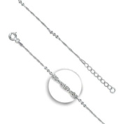 """Singapore Chain Anklet With Triple Ball Beads / Ankle Bracelet / Ankle Chain - 925 Sterling Silver - Adjustable 8.75"""" to 9.75"""" inches / 22.5 to 25 cms Singapore Chain - Anklets For Women - Supplied in Free Gift Box or Gift Bag!"""