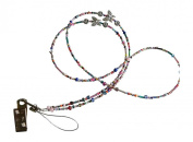 ShoreThing UK Multi Coloured Butterfly and Flowers Beaded Bead Lanyard many uses : 70cm - 80cm. Multi/Silver