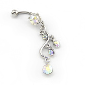 2014 New Fashion 14G Multi-colour 5 CZ Gems Long Round Leaf Dangle Navel Ring Belly Bar Button