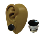 One - 10 mm - 00g - Black Colour Front Pyrex Glass Single Flare Ear Flesh Plug Stretcher Tunnel Earring