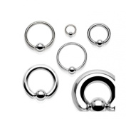 One - 10 mm x 1.2 mm - Captive Bead Ring BCR Cartilage Ear Eyebrow Nose Septum Lip Ring - Surgical Steel