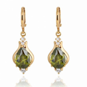 Yazilind Unique Design 14K Gold Filled Inlay Teardrop Cubic Zirconia Dangle Drop Earrings