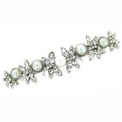 Silver Pearl & Crystal Dragonflies Hair Barrette / Clip