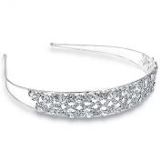 Bling Jewellery Rhinestone Laced Design Silver Bridal Tiara Headband