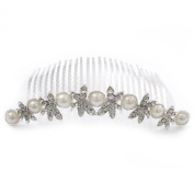 Bridal/ Wedding/ Prom/ Party Rhodium Plated. Crystal Butterfly & Glass Pearl Hair Comb/ Tiara - 10cm