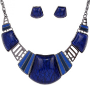 Yazilind Vintage Ethnic Tibetan Sliver Red Turquoise Bib Collar Earrings Necklace Jewellery Set Women