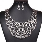 Circles Graduated Bubbles Flat Plaque Bib Statement Choker Necklace Earring Set