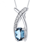 Revoni 0.75ct Oval Cut Sterling Silver Pendant with Silver Necklace of Length 46cm