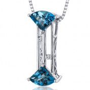 Revoni Exquisite Slider 2.00 carats Fan Cut Sterling Silver Rhodium Finish London Blue Topaz Pendant