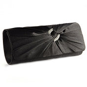 Satin Diamante Pleated Evening Clutch Bag BRIDAL WEDDING PARTY PROM 9 Colours