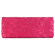 Womens Satin Ladies Floral Lace Small Bridal Party Evening Clutch Bag Handbag
