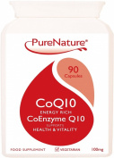 Co-Enzyme CoQ10 Rapid Absorption 100mg / 90 Easy One-a-Day Vegetarian Capsules Energy Rich to Support Wellbeing of the Heart, Liver & Body Cells