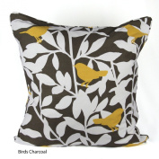 100% Cotton's Brand New Birds Charcoal Luxury Cushion Cover Size 50cm x 50cm