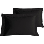 100% Egyptian Cotton Hotel Quality Oxford Pillow Case Pair BLACK - Sheridan Linens