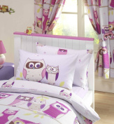 HOOT OWLS GIRLS LUXURY FULLY LINED CURTAINS SET 170cm X 180cm MATCHES DUVET - LILAC