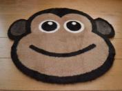 Cheeky Monkey Non Slip Machine Washable Sheepskin Style Kids Rug. Size 77cm x 77cm