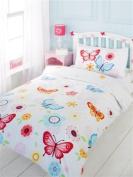 Butterfly Single Duvet Cover and Pillowcase Set - White