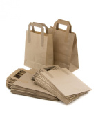 25 Brown Takeaway Kraft Paper Carrier Bags 18cm x 8.9cm x 22cm