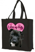Staffordshire Bull Terrier Cotton Shopping Bag, Black