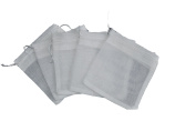 White Reusable Muslin Bags with Draw String for Spice, Herbs, Tea, Mulled Wine, Bouquet Garni Infuser Sieve - 20cm x 25cm
