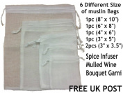 White Reusable Muslin Bags with Draw String 6 BAGS - 5 DIFFERENT SIZES MUSLIN BAGSfor Spice, Herbs, Tea, Mulled Wine, Bouquet Garni Infuser Sieve