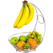 BRAND NEW 2 IN 1 CHROME BANANA HOOK HANGER TREE FRUIT BOWL BASKET STAND APPLE ORANGE