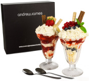 Andrew James Set Of Two Ice Cream Sundae Glasses With Two Spoons
