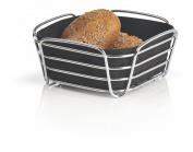 blomus Small Chrome Plated Metal Wire Cotton Delara Bread Basket, Black