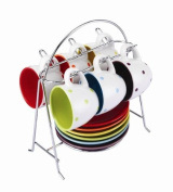 'Colours' Espresso Cup & Saucer Set With Stand