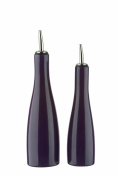 DRH Scoop Glazed Stoneware Oil and Vinegar Bottles with Metal Pourer in Purple 402139+994