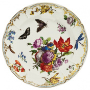 V & A - Victoria and Albert Museum Pink Butterfly Painted Tin Enamel Plate - Picnic or Camping