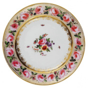 V & A - Victoria and Albert Museum Pink Roses Painted Tin Enamel Plate - Picnic or Camping