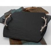 Medium Natural Slate Serving Tray with Antler Handles