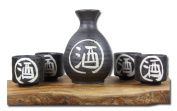 Japanese black traditional Sake set with white calligraphy
