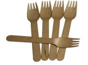 Thali Outlet - 100 x Wooden Birchwood Forks 160mm Disposable Biodegradable Takeaway