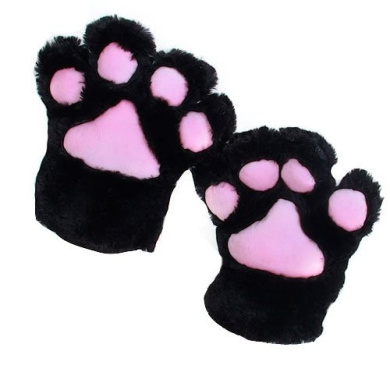 2x Black Cat Foot Paw Plush Gloves Party Cosplay