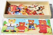 Toys of Wood Oxford Wooden Bear Family Dress-up Puzzle Box - Fun Jigsaw Puzzle