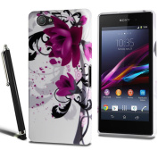 Sony Xperia Z1 Compact Mini Flower Floral Silicone Case Cover + Screen Protector + Stylus