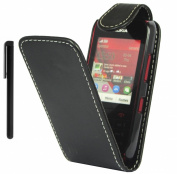 Nokia Asha 300 Ultra Slim Flip Wallet Pouch Case Cover Plus Stylus Pen, Screen Protector & Polishing Cloth