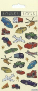 Cars, Trains, Planes & Helicopters Re-usable Foiled Sticker Sheet