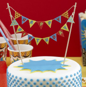 Ginger Ray Happy Birthday Cake Bunting Topper - Pop Art Superhero Party