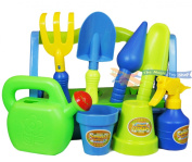 Kids Garden Play Set Toy Watering Can Spade Rake Gardening Tools and Carry Case