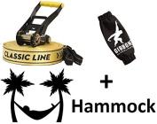 Gibbon Slackline 25m Classic XL X13 50mm Set Rope 13841 + Tukeke Hammock