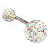 Thenice 14g Navel Rings Belly Button Crystal Ball Body Piercing