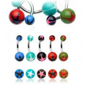 Thenice 10 Pcs 14g Star Uv Silicone Plastic Coloured Ball Navel Ring