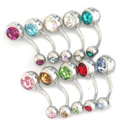 Thenice 10 Pcs 14g Double Gem Body Piercing Navel Ring