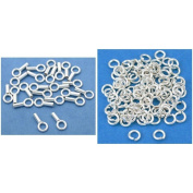 Sterling Silver Crimp End Caps & Silver Plated Open Jump Rings Findings 200 Pcs