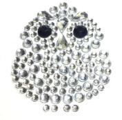 4 X Clear OWL Self Adhesive Rhinestone Diamante Stick on Gems, Craft, Wedding