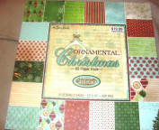 """Ornamental Christmas"" Snowflakes,Trees,Music Notes, Ornaments, 60 Sheets 30cm x 30cm Decorative Paper Pack, New"