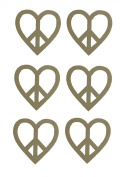 Peace Sign Heart Shape Cut Outs Unfinished Wood Cut Out 7.6cm Inch 6 Pieces HEAPE-02